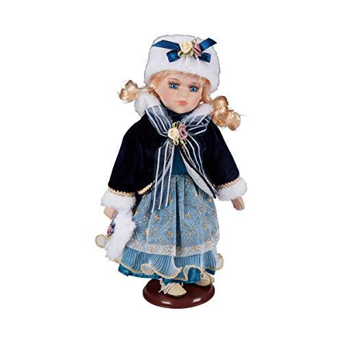 Unbekannt Deko-Puppe Mathilda, extragroße Porzellanpuppe, prachtvolles Kleid, Winterpuppe Künstlerpuppe Sammlerpuppen Porzellan, 30 cm hoch