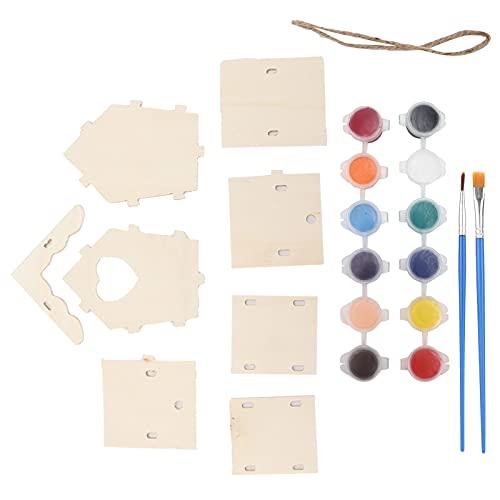 01 Kit De Pajarera para Pintar De Bricolaje, Kit De Pajarera De Madera para Decoración De Jardín para Niños, Regalos para La Casa De Pájaros De Bricolaje(12 pigmentos de Color)
