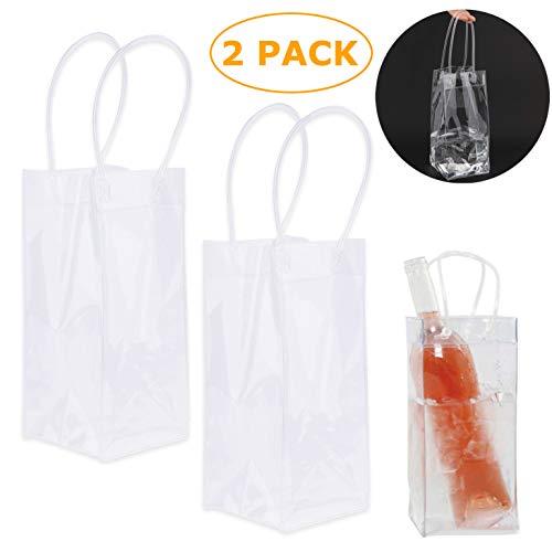 TADAE 2er Pack Wein Eisbeutel, langlebig, klarer PVC Champagnerbeutel, Kühltasche mit Griff (transparent)