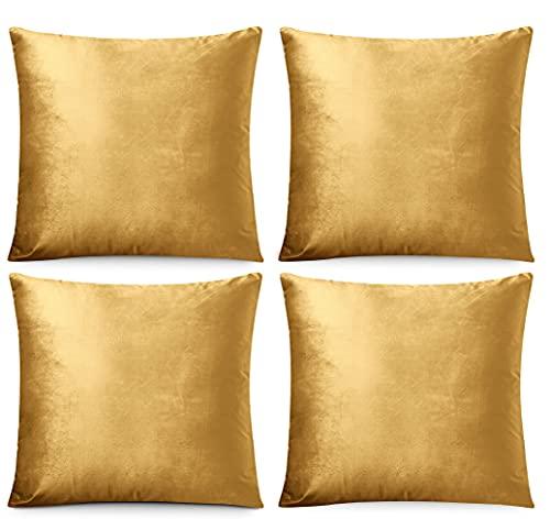 FARFALLAROSSA Juego de 4 fundas de cojín cuadradas de terciopelo con cremallera invisible reforzada, ideal para cojín de sofá, apto para cualquier estación, color liso, 50 x 50 cm