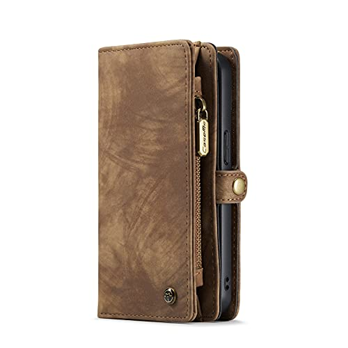 YCQ Compatible with iPhone 13 Wallet Case,Leather Vintage Shockproof Detachable Magnetic Flip Cover Case for Cell Phone with Purse Case (Color : Brown, Size : 13)