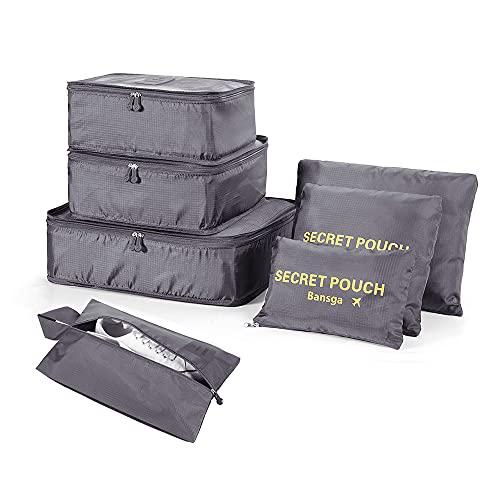 7 Set Kleidertaschen - 3 Packwürfel + 3 Taschen Tasche + 1 Schuhtasche - Perfekter Reisegepäck-Organizer(Grey2)