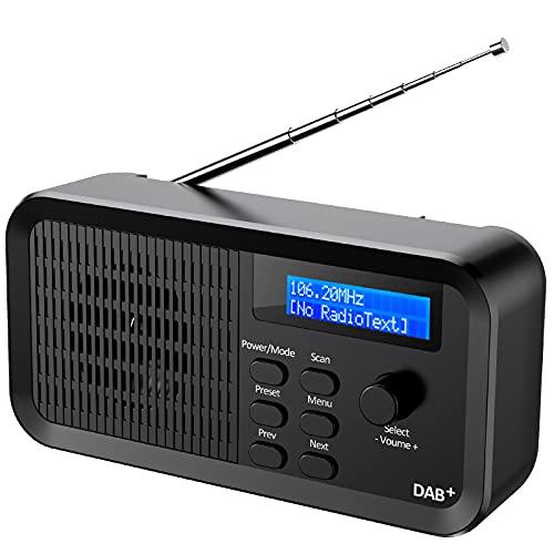 EXTSUD Radio Dab Portátil, Radio FM Digital Recargable con Escaneo Automático Manual 10 Estaciones Preestablecidas, Dab+ Radio Digital para Hogar Cocina Oficina Exterior