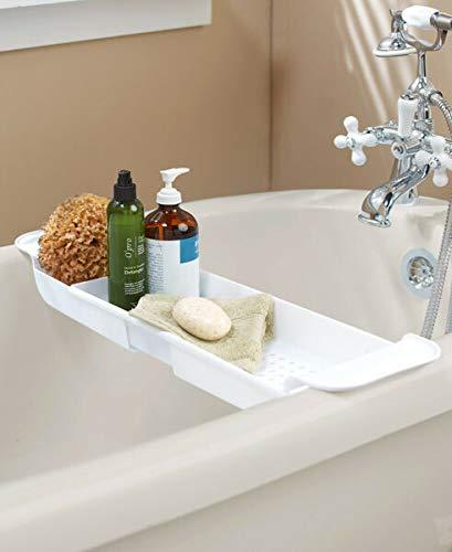 VERYN for Extendable Bath Tub Bathtub Caddy Storage Caddie - White Bathroom Organizer Supplier for Plaques & Signs Décor Pillows