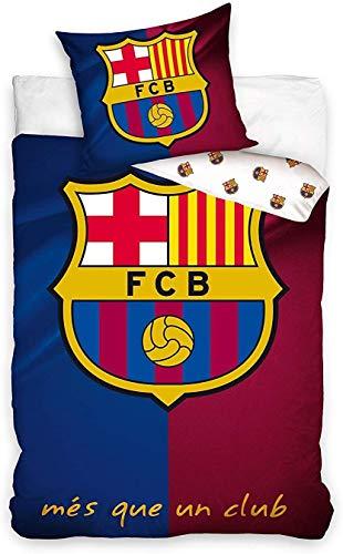 Carbotex FCB6001 - F.C. Barcelona - Juego de cama individual MES Que un Club LOGO Barcellona - 100% algodón - 140 x 200 cm y funda de almohada 50 x 70 cm