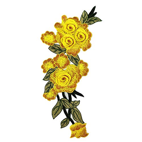 DIY Floral Flower Embroidery Appliques, 3D Manual Rose Flowers Decorative Patches Sew On Patches, Decal Apparel for Jeans Pants Tops T-Shirt Dress Bags Shoes Hats etc. (Yellow)
