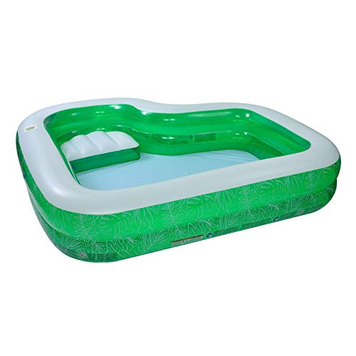 Inflatable Swimming Pool, Family Pool, PVC Tear L Shape Inflatable Kiddie Pool Resistance Family Lounge Pool Kids Wading Toy (2-Ring)