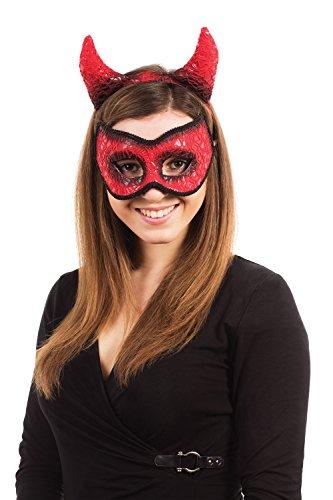 2er Set Augenmaske Und Haarreif Teufel Teufelchen Mit Hörner