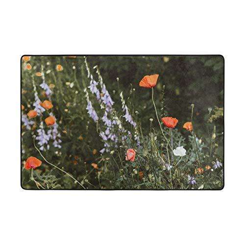 pour Salon Maison Chambre Tapis décoratif antidérapant 72 x 48 Pouces paillassons Tapis de Sol Tapis Champ Fleur Nature