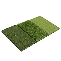 Don't ruin your carpet or green grass in your yard to tune up your golf game! Practice your shot on artificial turf that simulates a real fairway from the comfort of your home or office. 3 different turfs to practice strokes on smooth, rough and putt...