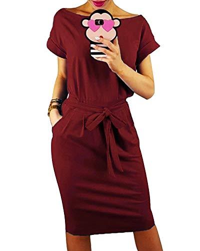 JENJON Vestido de Verano para Mujer, Casual de la Camiseta Cuello Redondo,de Manga Corta con Bolsillo, Vestido de Playa Fiesta Rojo XXL