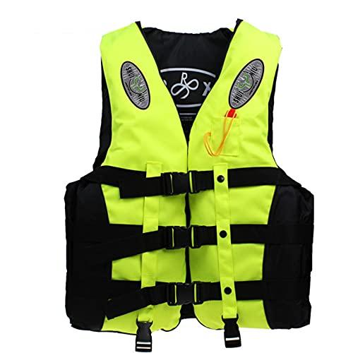Chaleco salvavidas para natación Life Jacket con bolsillo oculto, tejido Oxford con 3 correas ajustables, apto para niños y adultos, color amarillo