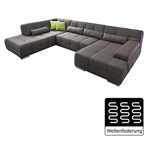 Cavadore Wohnlandschaft Boogies mit Longchair rechts/Sofa U-Form mit moderner Steppung in Sitz & Rückenlehne/Rückenecht/Inklusive Kissen/Größe : 344x76x231 (BxHxT)/Bezug in Strukturstoff schwarz/braun