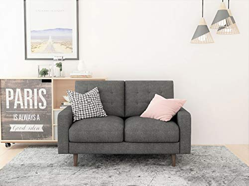 Container Furniture Direct Matte Velvet Mid Century Modern Tufted Living Room Sofa, 71.7', Grey