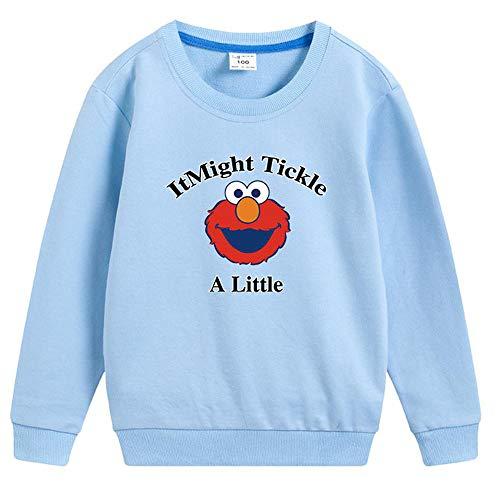 YX Hoodie Kindertrui Sesamstraat KAWS Cartoon Print Sweater Katoen Trui Lichtblauw-110cm