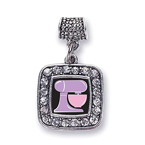 Inspired Silver - Baking Mixer Memory Charm for Women - Silver Square Charm for Bracelet with Cubic Zirconia Jewelry