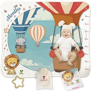 Coperta Mesi Neonato In Flanella Per Neomamme Con Sacca In Cotone | Baby Shower Primo Anno Bambino Maschio e Femmina | Copertina Regalo Nascita Lista Bebè