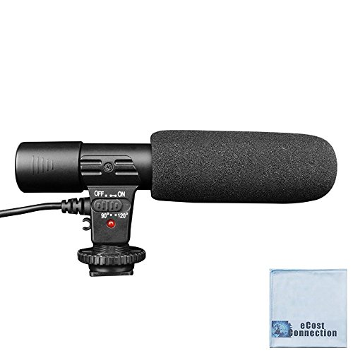 Professional Directional Condenser Shotgun Microphone for DSLR Cameras and Camcorders + eCostConnection Microfiber Cloth