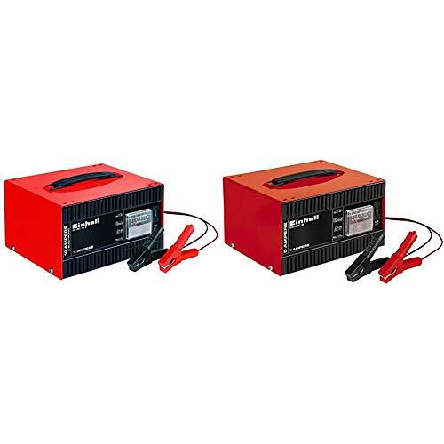 Einhell CC-BC 10Cargador Batería, Carcasa Chapa Acero, 12 V + 1056121 Cargador de batería, Negro, Rojo