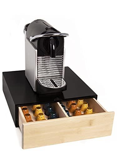 Tiroir porte-capsules Nespresso Dolce Gusto – Boîte en bois de pin et bambou pour accessoires café – Idéal pour la maison et le bureau (Noir)