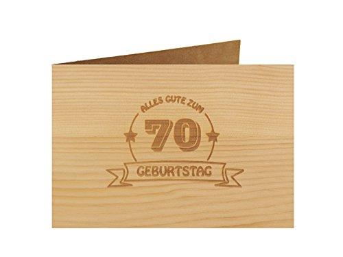 Holzgrußkarte - Geburtstagskarte - 100% handmade in Österreich - Postkarte Glückwunschkarte Geschenkkarte Grußkarte Klappkarte Karte Einladung, Motiv:ALLES GUTE 70 GEBURTSTAG