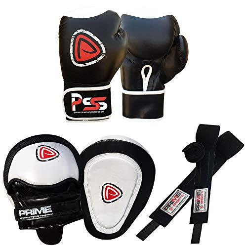 Prime Leather MMA S1 - Juego de Guantes de Boxeo, Almohadillas de Maquillaje para Mano