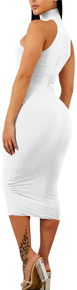 GOBLES Women's Sexy Halter High Neck Elegant Sleeveless Bodycon Midi Club Dress