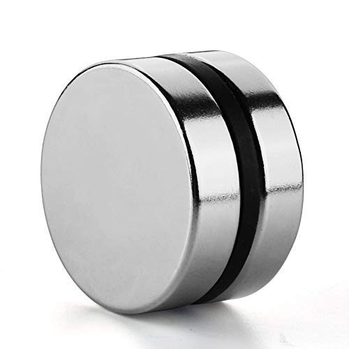 REALTH Magnets Disc 1.57 Inch Neodymium Strong Permanent Rare Earth Round Magnetic Blocks for Fridge Office Science Project Building and Craft 2 Pack (MC306)