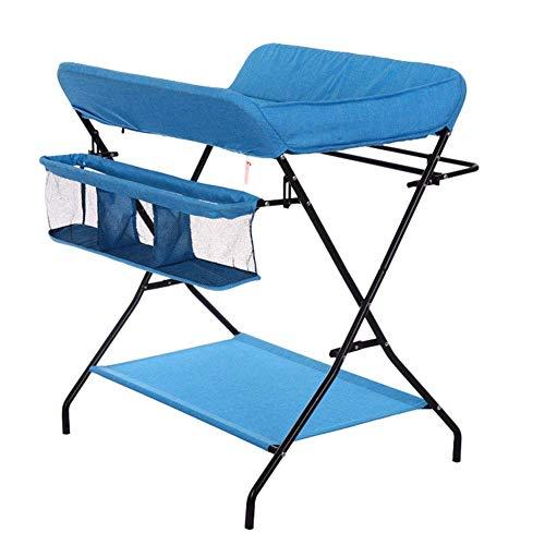 PMTBHBaby Windeltisch, Kleines Zimmer Klappbett Kind Tragbare Dressing Station Cross Leg Blau