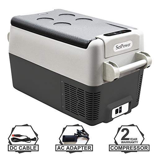 Setpower AJ30 32 Quarts Portable Freezer Fridge 12V Cooler, 0℉-50℉, DC 12/24V, AC 110-240V, Car Fridge Compact Refrigerator, for Truck, Van, RV Road Trip, Outdoor, Camping, Picnic, BBQ, Patio