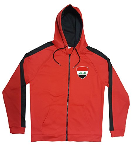 Irak Jacke Sweater Rot JA GO Irak Trikot Look Zip Nation Fussball Sport (M)