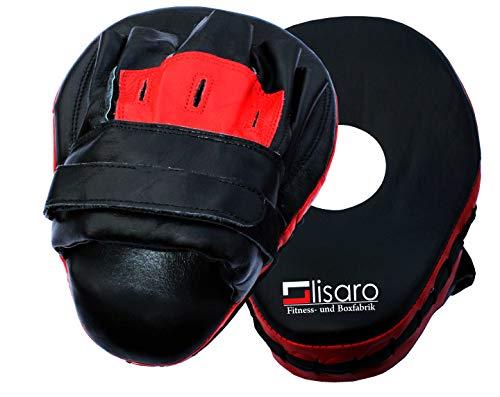 Lisaro Pratzen Handpratzen Focus Pad Pratze Kick Boxen Kampfsport MMA Schlagpolster, schwarz-rot