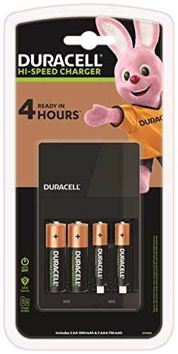 Duracell CEF14 4 hours Battery Charger with 2 AA and 2 AAA, Black, 118.0...