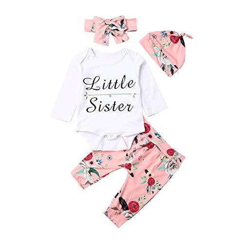 4 Stks Pasgeboren Baby Meisje Leuke Kerstmis Lange Mouw Outfit Kleine Zuster Romper+Print Broek+Hoofdband+Hoed Herfst Winter Kleding