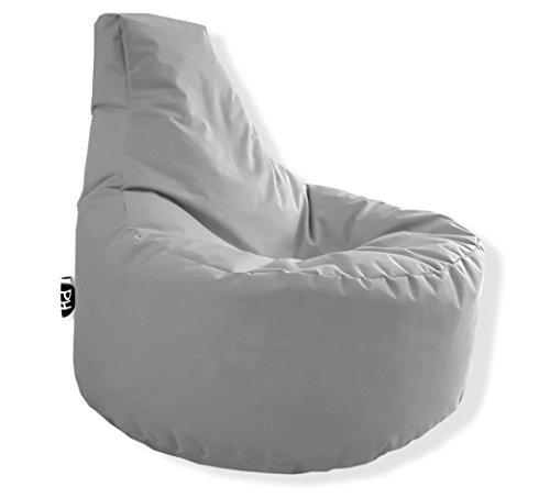 Patchhome Gamer Kissen Lounge Kissen Sitzsack Sessel Sitzkissen In & Outdoor geeignet fertig befüllt | Grau - Ø 75cm x Höhe 80cm - in 2 Größen und 25 Farben