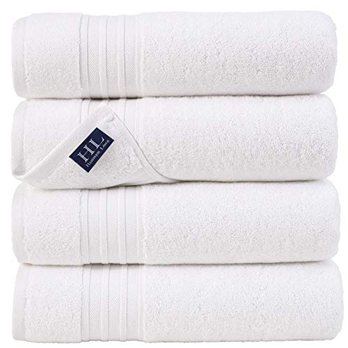 Hammam Linen 100% Cotton 27x54 4 Piece Set Bath Towels White Super Soft, Fluffy, and Absorbent, Premium Quality Perfect for Daily Use 100% Cotton...
