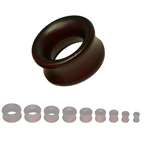 SoulCats® 8-22mm Plug Holz Flesh Tunnel Tube Holzplug Double Flared braun schwarz beige, Größe:16 mm;Farbe:Dunkelbraun