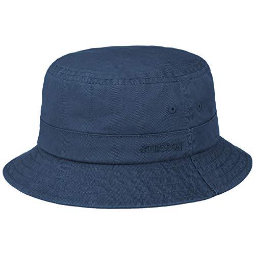 Stetson Organic Cotton Hut mit UV-Schutz Bio-Baumwolle Stoffhut Baumwollhut Fischerhut Anglerhut Damen/Herren - Frühling-Sommer - L (58-59 cm) blau