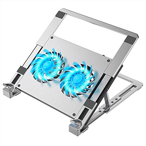 ulocool Laptop Ständer, Aluminium Laptop Kühler Stand Notebook Kühlpads, 12-15.6 Zoll Laptop Cooling Pad mit 2 Lüfter 2500 RPM Verhindere Überhitzung, 5 einstellbaren Höhen, USB Ports & Typ-C-Port