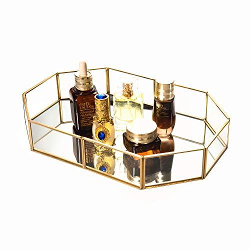 Feyarl Tablett Gold Kunstvolles Kosmetische Jewelry Organizer Vanity Tray verspiegelt Dekoratives Tablett für Home Parfum Skin Care