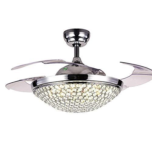 Ventilador de techo LED 2 en 1 de 42 pulgadas con luz, mando a distancia, lujoso, cristal ventilador, lámpara con 4 cuchillas retráctiles, 3 colores, 3 velocidades, para salón, dormitorio, comedor