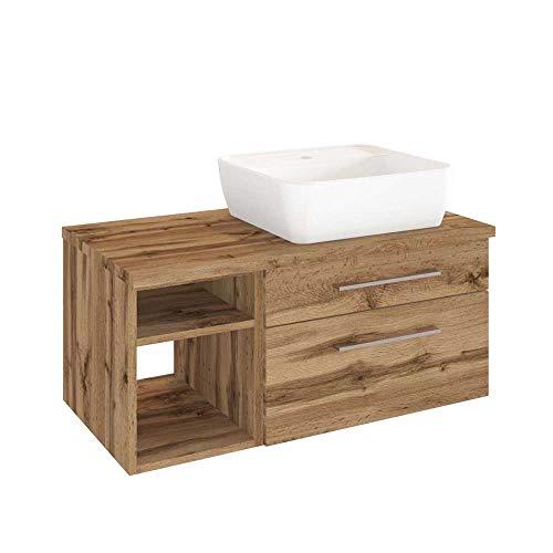 Pharao24 Waschtischunterschrank mit Aufsatz-Waschbecken Wildeiche Dekor