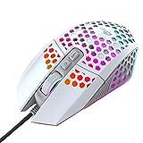 EasyULT Mouse da Gaming Cablato RGB, Mouse RGB 7 Pulsanti Programmabili 8000 DPI (6 livelli), Ultraleggero Mouse Ergonomico con Scocca a Nido d'Ape, per PC, Laptop(Bianca)