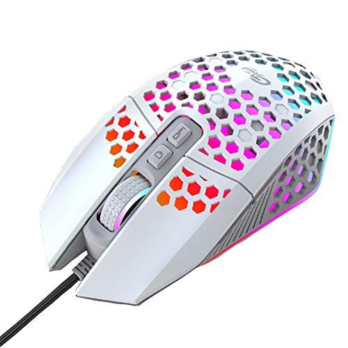 EasyULT RGB Gaming Maus, 800-8000 DPI Einstellbar PC Maus, 7 Programmierbare Funktionstasten, 7 Modi Beleuchtung, Ultraleichte Waben Wired Computer Maus für Desktop/Laptop Gamer(Weiß)