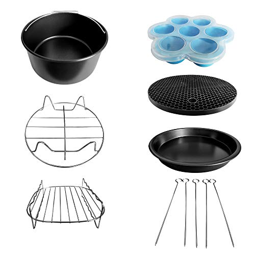 Accessories Kit for Proscenic T21 Air Fryer (1 x cake pan; 1 x pizza pan; 1 x metal holder; 1 x 1 rack with 5 skewers; 1 x silicone mat; and 1 x egg bites mold with lid)