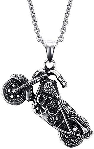 BEISUOSIBYW Co.,Ltd Collar de Moda para Hombre Vintage gótico Ghost Rider Colgantes Acero Inoxidable Motocicleta Motor Bicicleta Colgante Collar