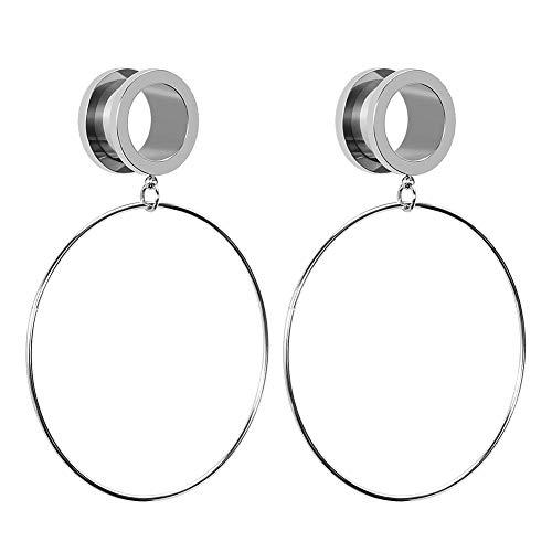 COOEAR Edelstahl-Messgeräte für Ohren Verschraubungen und Tunnel Piercing Schmuck Silber Circle Dangle Expander Stretchers 2g to 5/8