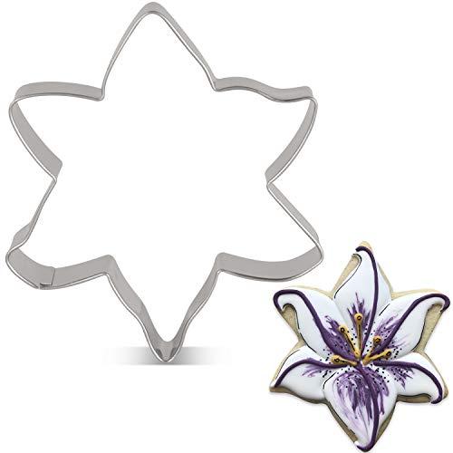 KENIAO Emporte-pièce en acier inoxydable Motif fleurs de lys 3,3 x 3,7 pouces