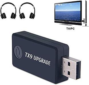 Transmisor Bluetooth para TV, PC (soporta 3.5mm, RCA, USB audio de PC) Conexión Dual Adaptador Inalámbrico de Audio para Auriculares, Baja Latencia, Alta Fidelidad Estéreo, Plug and Play