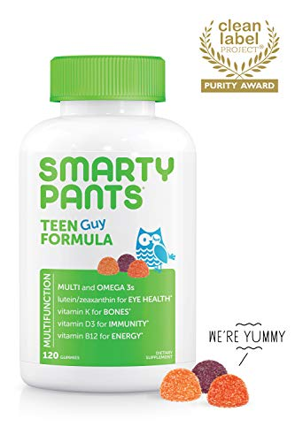 Daily Gummy Multivitamin Teen Guy: Biotin, Vitamin C, D3, E, B12, A, Omega 3 Fish Oil DHA/EPA, Zinc, Iodine, Choline, Folate (Methylfolate) by Smartypants (...